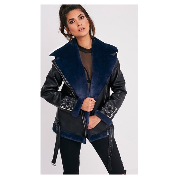 new style of 2019 2019 clearance sale well known Black Navy Faux Fur Lined Aviator Jacket NWT